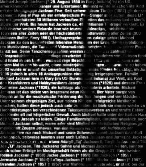 Text-portrait of Michael Jackson